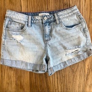 Cello Mid Rise Light Blue Rolled Denim Shorts